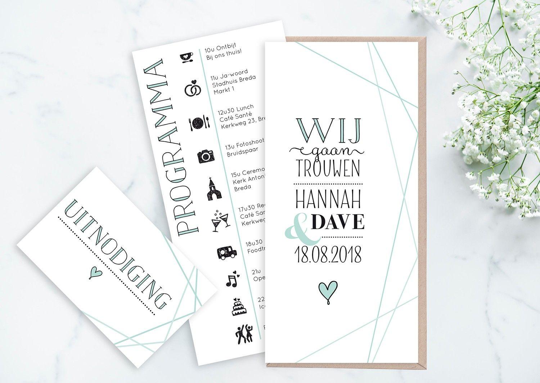 Huwelijkskaart_geometrisch_mint