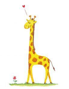 Giraffe met bloem