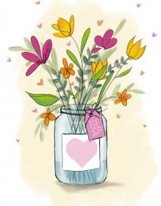 Kaart met bloemen